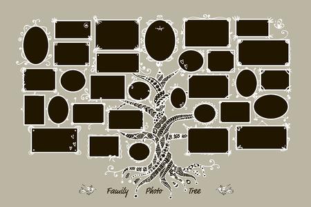 arbol genealógico: Plantilla árbol genealógico con marcos de cuadros. Insertar las fotos.