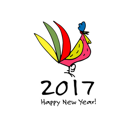 poultry: Funny Rooster, symbol of 2017 new year. Illustration