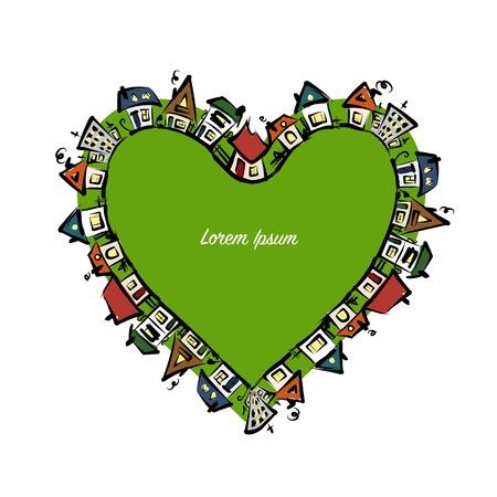 La forma del cuore di paesaggio urbano, abbozzo astratto delle case per il vostro disegno. Illustrazione vettoriale