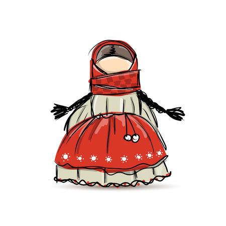 muñecas rusas: Hechos a mano muñeca de la mascota popular, boceto de su diseño. ilustración vectorial