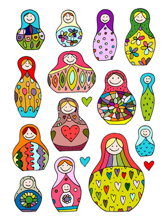 matreshka: Collection of russian nesting dolls, Matryoshka for your design. Vector illustration