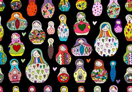 russian nesting dolls: Seamless pattern with russian nesting dolls, Matryoshka. Vector illustration