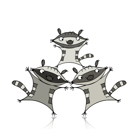 Funny raccoon family for your design. Vector illustration Illustration