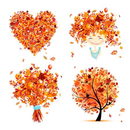 Autumn set for your design: girl, bouquet, tree, heart. Vector illustration