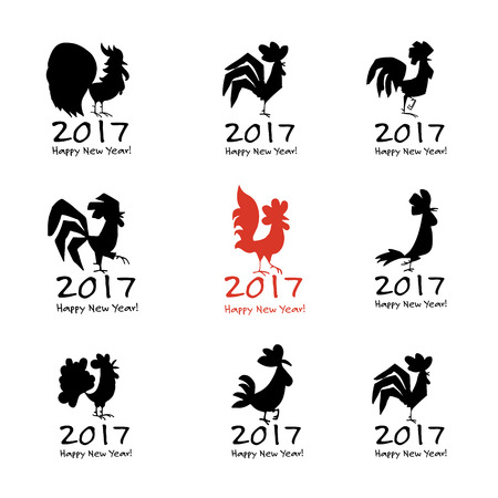black feather: Funny Rooster, symbol of 2017 new year. Vector illustration Illustration