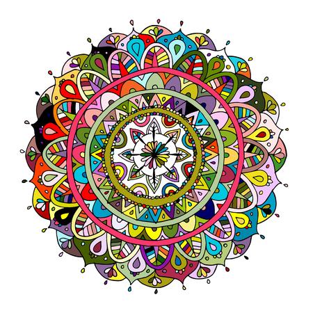 マンダラの飾り、あなたの設計のためにカラフルなパターン。ベクトル図