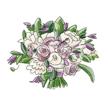 wedding bouquet: Floral wedding bouquet, sketch for your design. Vector illustration