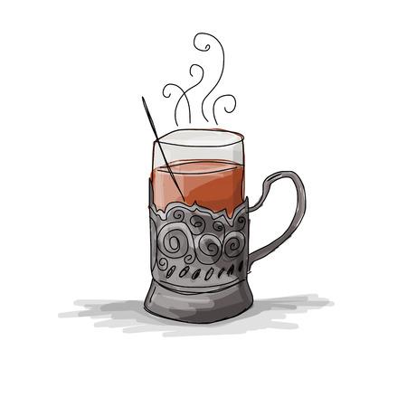 Tea cup vintage glass-holder, sketch for your design. Vector illustration