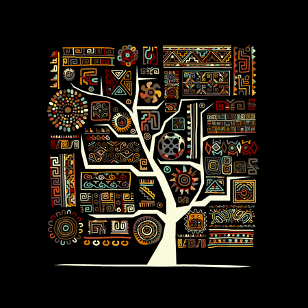 ornamental: Ethnic tree with handmade ornament for your design. Vector illustration