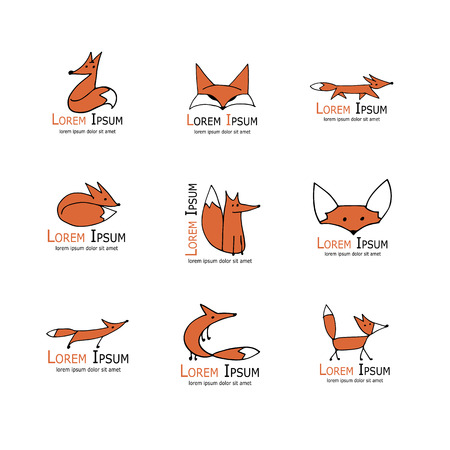 tails: Fox icons, collection for your design. Vector illustration