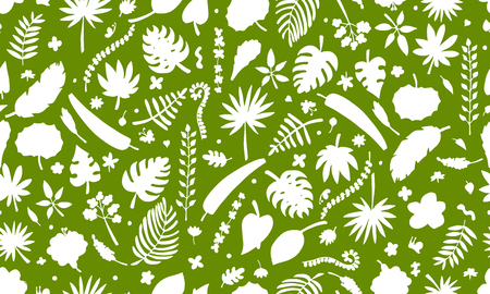 ferns and orchids: Tropical plants, seamless pattern for your design. Vector illustration