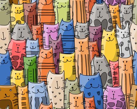 Grappige katten familie, naadloos patroon voor uw ontwerp. vector illustratie