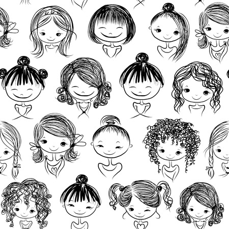 Cute girls, seamless pattern for your design, vector illustration
