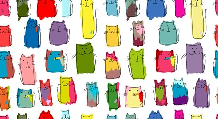 crowd tail: Funny cats family, seamless pattern for your design. Vector illustration Illustration