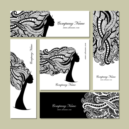 profile face: Business cards design, female floral portrait. Vector illustration