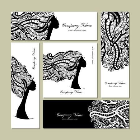visage profil: Cartes de visite conception, portrait féminin floral. Vector illustration