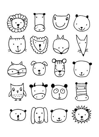 ferret: Set of animal faces, sketch for your design. Vector illustration