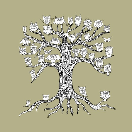 Old tree with owls for your design. Vector illustration