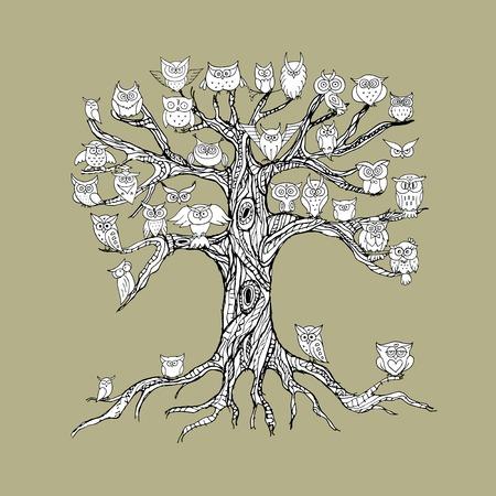 arbol genealógico: árbol viejo con los búhos para su diseño. ilustración vectorial