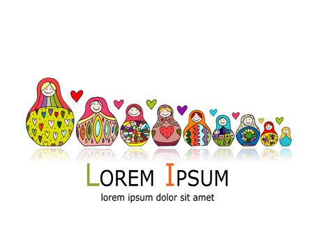 Collezione di bambole russe di nidificazione, Matrioska per il tuo design. Illustrazione vettoriale