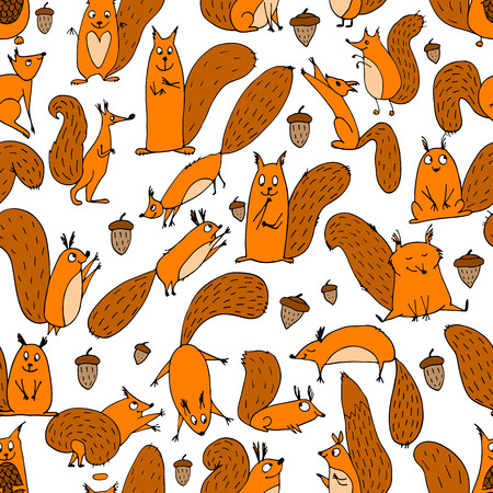 nut: Funny squirrel with nut, seamless pattern. Vector illustration
