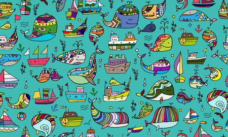 Whales and ships, seamless pattern for your design. Vector illustration