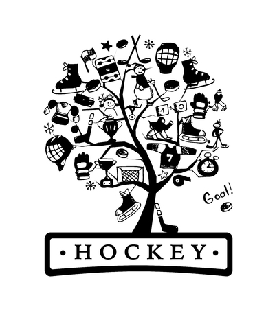Hockey concept tree, sketch for your design. Vector illustration