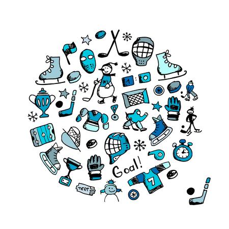 Hockey banner, sketch for your design. Vector illustration