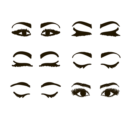 brows: Eyes and brows collection, sketch for your design. Vector illustration