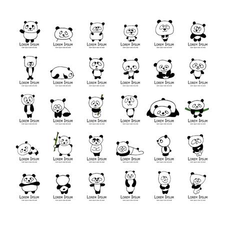 colección de osos panda divertido, boceto de su diseño. ilustración vectorial