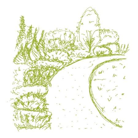 botanical garden: Botanical garden, sketch for your design. Vector illustration Illustration