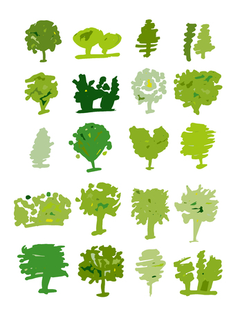 Trees collection, sketch for your design. Vector illustration