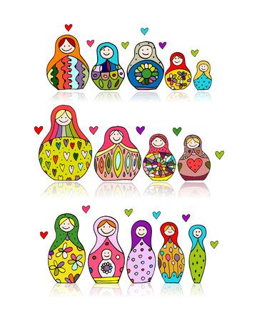 muñecas rusas: Colección de muñecas rusas de la jerarquización, Matryoshka por su diseño. ilustración vectorial Vectores