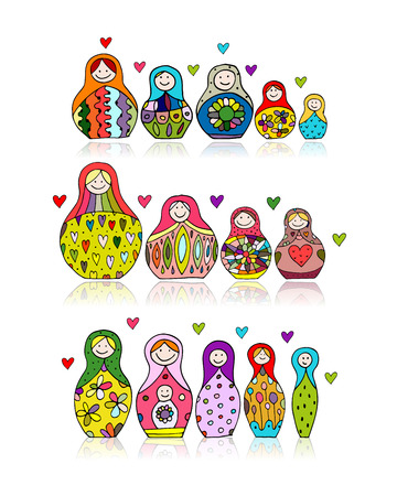 Collection of russian nesting dolls, Matryoshka for your design. Vector illustration