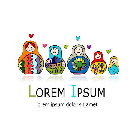 russian nesting dolls: Collection of russian nesting dolls, Matryoshka for your design. Vector illustration