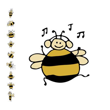 面白いダンス蜂、あなたの設計のためのスケッチ。ベクトル図  イラスト・ベクター素材