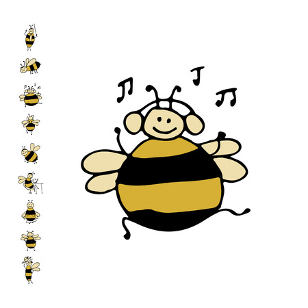 comic wasp: Funny dance bee, sketch for your design. Vector illustration