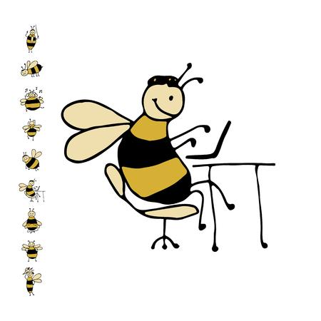 面白いオフィス蜂、あなたの設計のためのスケッチ。ベクトル図