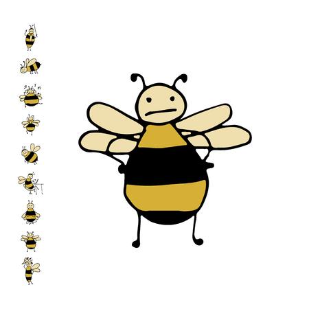 재미 꿀벌, 디자인을위한 스케치. 벡터 일러스트 레이 션