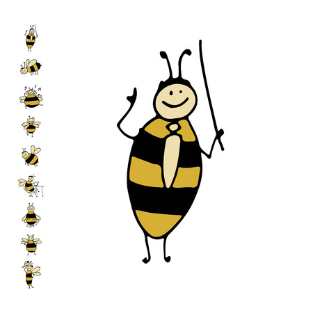 Funny bee, sketch for your design. Vector illustration