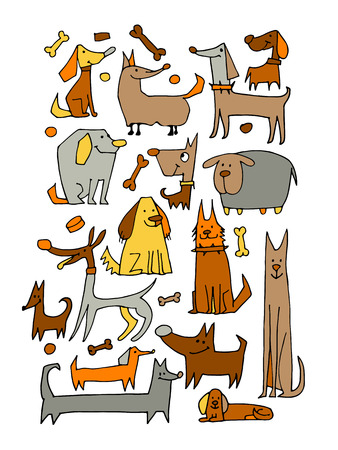 funny dogs: Funny dogs collection, sketch for your design. Vector illustration Illustration