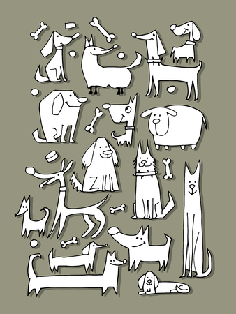 Funny dogs collection, sketch for your design. Vector illustration  イラスト・ベクター素材