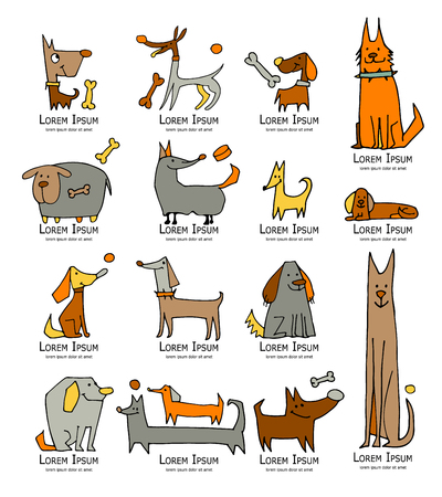 Funny dogs collection, sketch for your design. Vector illustration Ilustração