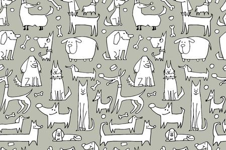 Lustige Hunde-Sammlung, nahtlose Muster für Ihr Design. Vektor-Illustration Standard-Bild - 62145347