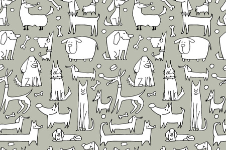 Funny dogs collection, seamless pattern for your design. Vector illustration
