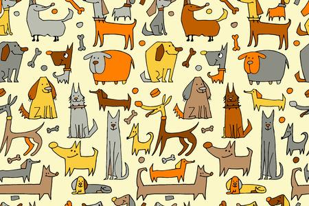 perros graciosos: colección de perros divertido, patrón transparente para su diseño. ilustración vectorial