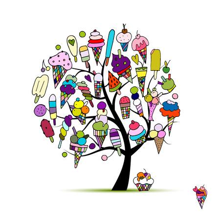 Icecream tree, sketch for your design. Vector illustration