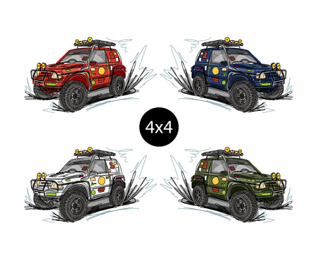 off road: Tuned SUV car, sketch for your design. Vector illustration Illustration