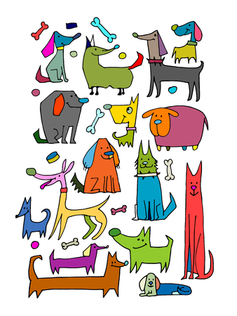 Funny dogs collection, sketch for your design.  illustration