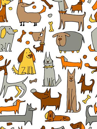 perros graciosos: colección de perros divertido, patrón transparente para su diseño. ilustración